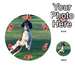 English Springer Catching Ball Playing Cards 54 (Round)  Front - Heart6