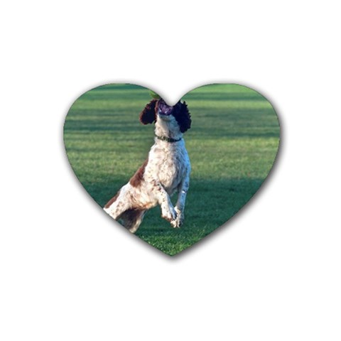 English Springer Catching Ball Rubber Coaster (Heart)