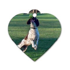 English Springer Catching Ball Dog Tag Heart (Two Sides)