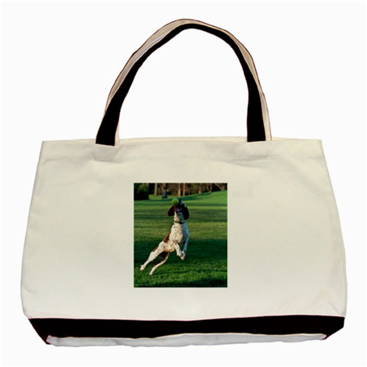 English Springer Catching Ball Basic Tote Bag (Two Sides)