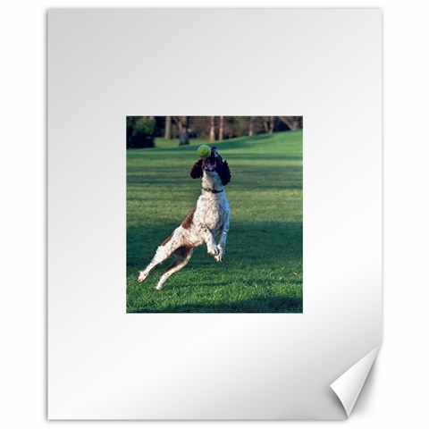 English Springer Catching Ball Canvas 11  x 14