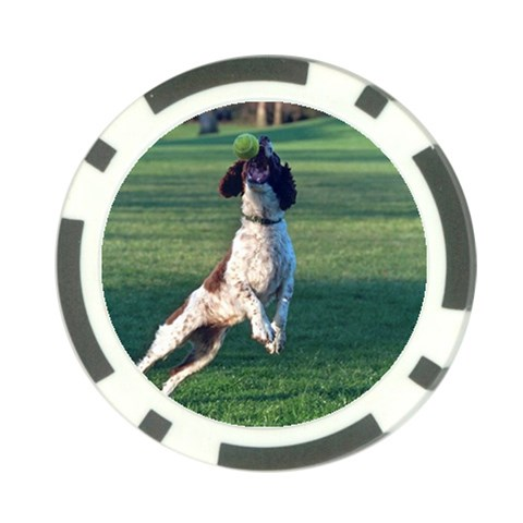 English Springer Catching Ball Poker Chip Card Guards