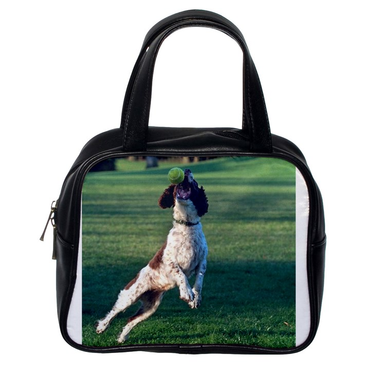 English Springer Catching Ball Classic Handbags (One Side)