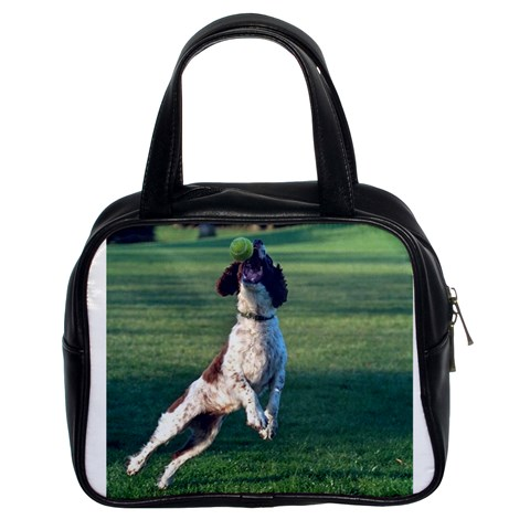 English Springer Catching Ball Classic Handbags (2 Sides)