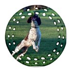 English Springer Catching Ball Ornament (Round Filigree)  Front