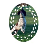 English Springer Catching Ball Ornament (Oval Filigree)  Front