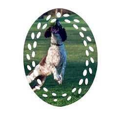 English Springer Catching Ball Oval Filigree Ornament (2-Side)