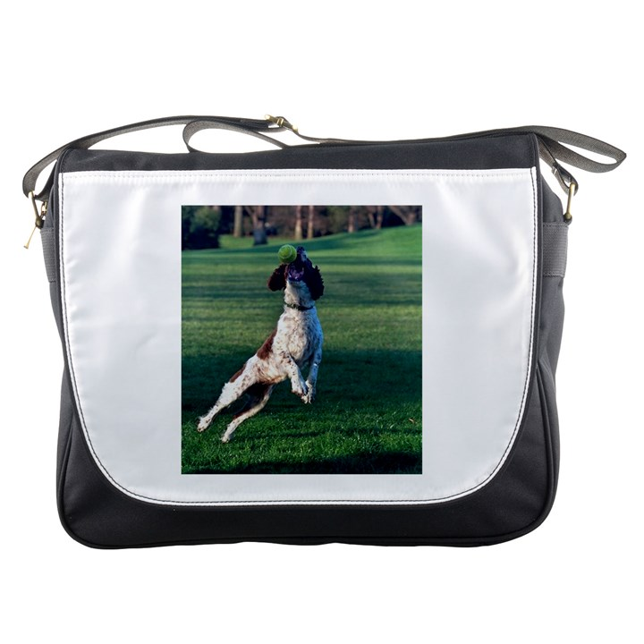 English Springer Catching Ball Messenger Bags