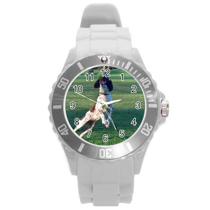 English Springer Catching Ball Round Plastic Sport Watch (L)