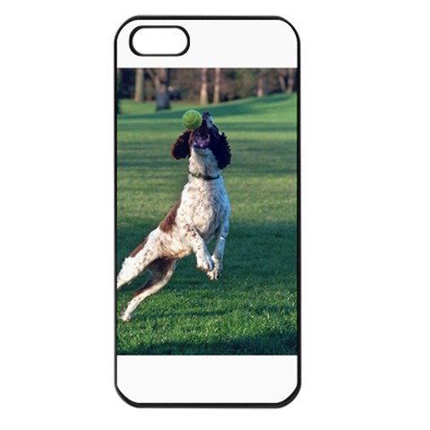 English Springer Catching Ball Apple iPhone 5 Seamless Case (Black)