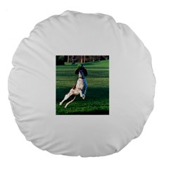 English Springer Catching Ball Large 18  Premium Round Cushions