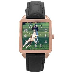English Springer Catching Ball Rose Gold Leather Watch