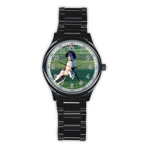 English Springer Catching Ball Stainless Steel Round Watch