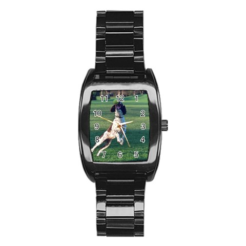 English Springer Catching Ball Stainless Steel Barrel Watch