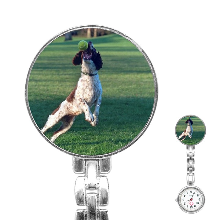 English Springer Catching Ball Stainless Steel Nurses Watch