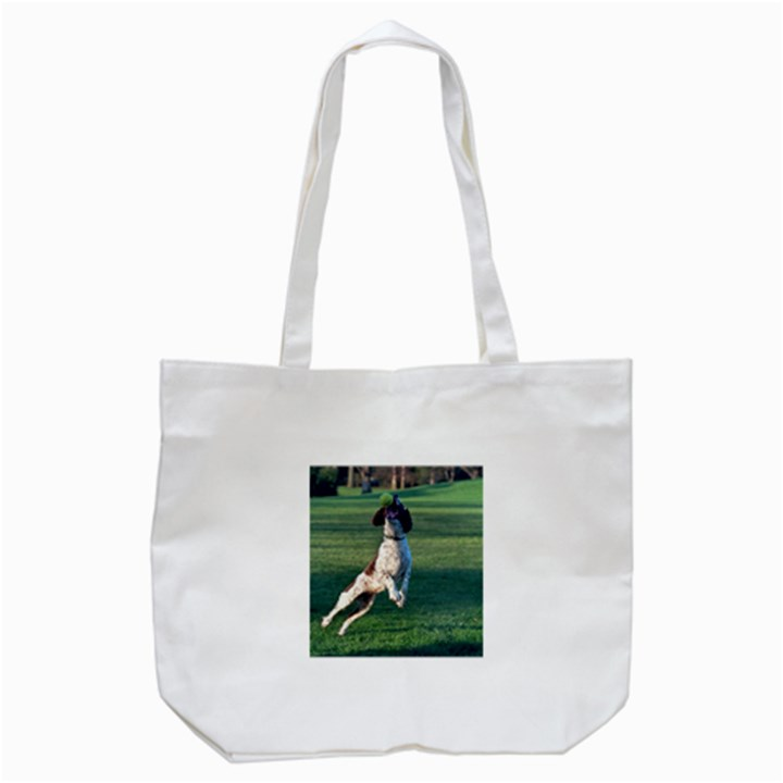 English Springer Catching Ball Tote Bag (White)