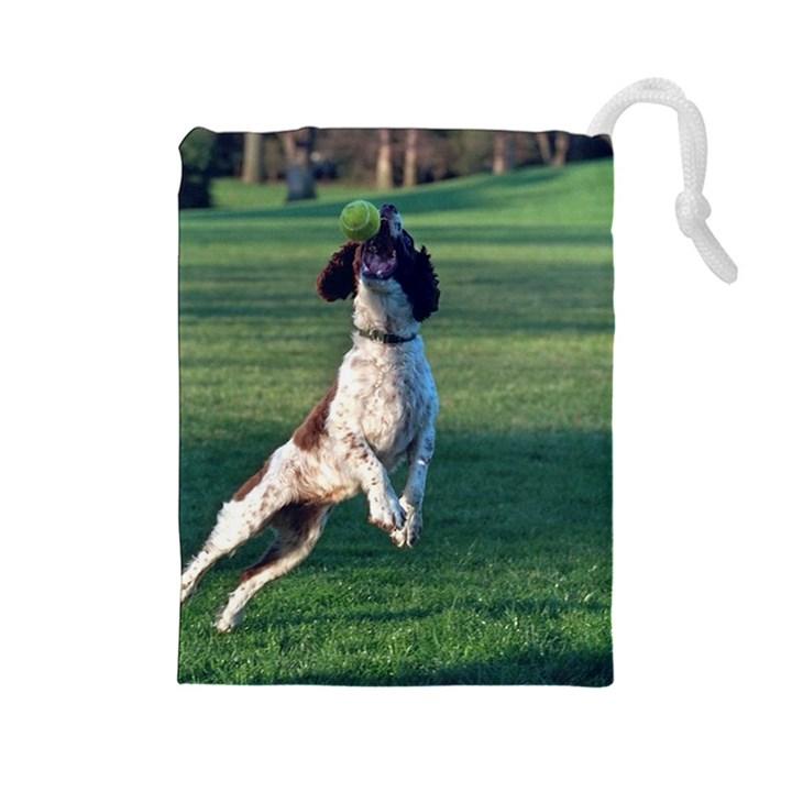 English Springer Catching Ball Drawstring Pouches (Large)