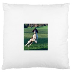 English Springer Catching Ball Large Flano Cushion Case (One Side)