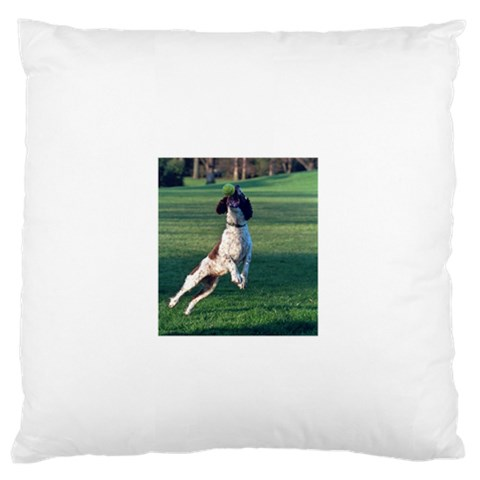 English Springer Catching Ball Large Flano Cushion Case (Two Sides)