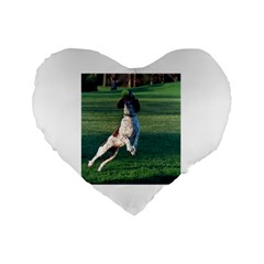 English Springer Catching Ball Standard 16  Premium Flano Heart Shape Cushions