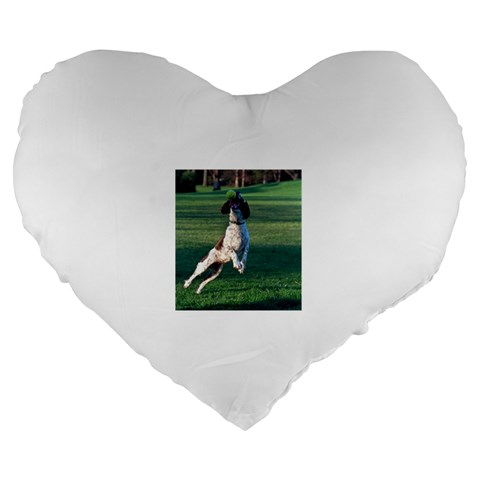English Springer Catching Ball Large 19  Premium Flano Heart Shape Cushions