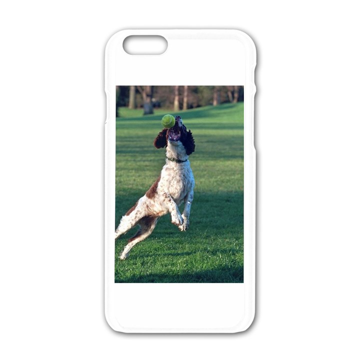 English Springer Catching Ball Apple iPhone 6/6S White Enamel Case