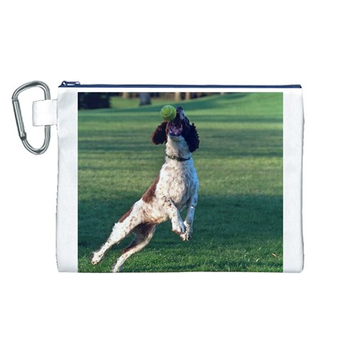 English Springer Catching Ball Canvas Cosmetic Bag (L)