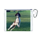 English Springer Catching Ball Canvas Cosmetic Bag (L) Back