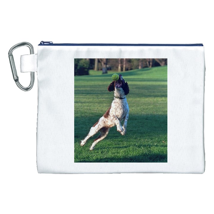 English Springer Catching Ball Canvas Cosmetic Bag (XXL)