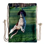 English Springer Catching Ball Drawstring Bag (Large) Back