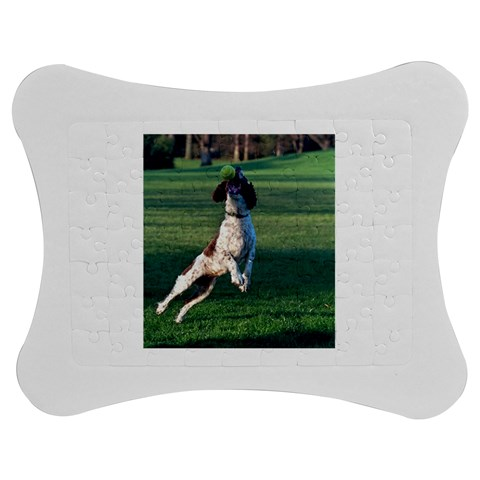 English Springer Catching Ball Jigsaw Puzzle Photo Stand (Bow)