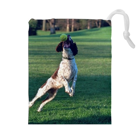 English Springer Catching Ball Drawstring Pouches (Extra Large)