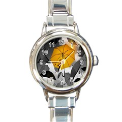 Umbrella Yellow Black White Round Italian Charm Watch