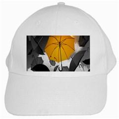 Umbrella Yellow Black White White Cap