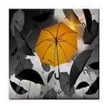 Umbrella Yellow Black White Tile Coasters Front
