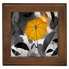 Umbrella Yellow Black White Framed Tiles