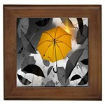 Umbrella Yellow Black White Framed Tiles Front