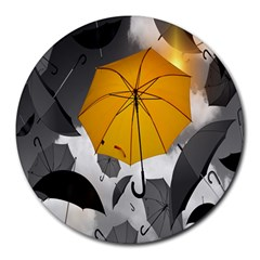Umbrella Yellow Black White Round Mousepads