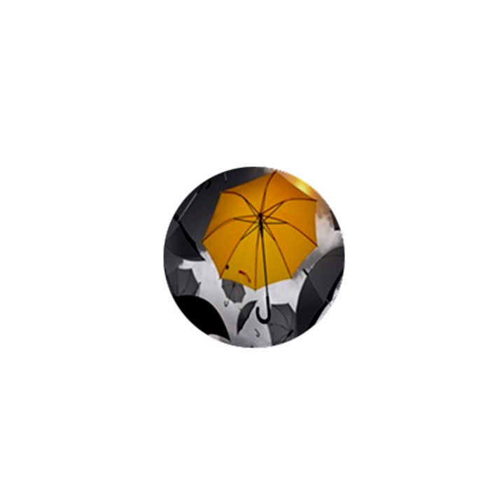 Umbrella Yellow Black White 1  Mini Buttons