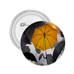 Umbrella Yellow Black White 2.25  Buttons