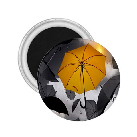 Umbrella Yellow Black White 2.25  Magnets