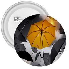 Umbrella Yellow Black White 3  Buttons