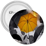 Umbrella Yellow Black White 3  Buttons Front