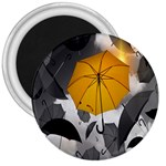 Umbrella Yellow Black White 3  Magnets Front