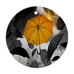 Umbrella Yellow Black White Ornament (Round)  Front