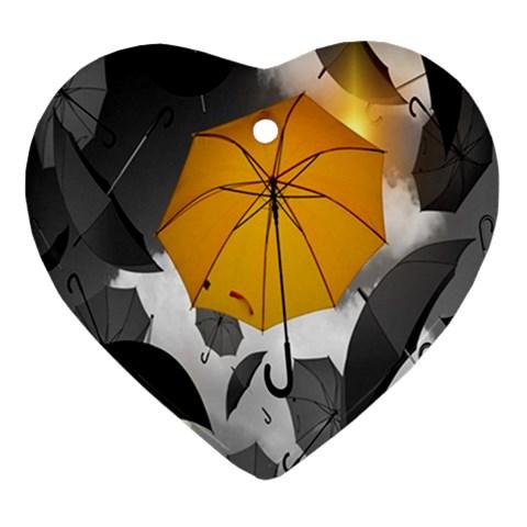 Umbrella Yellow Black White Ornament (Heart)