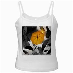 Umbrella Yellow Black White White Spaghetti Tank