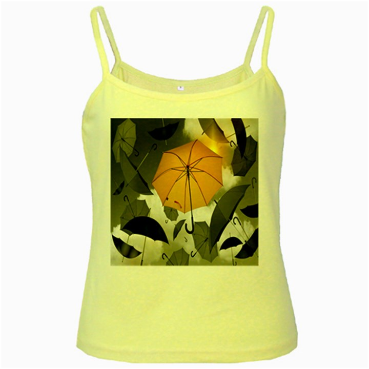 Umbrella Yellow Black White Yellow Spaghetti Tank