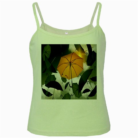 Umbrella Yellow Black White Green Spaghetti Tank
