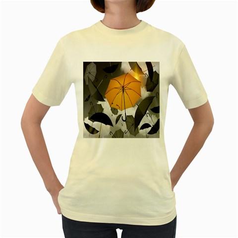 Umbrella Yellow Black White Women s Yellow T-Shirt